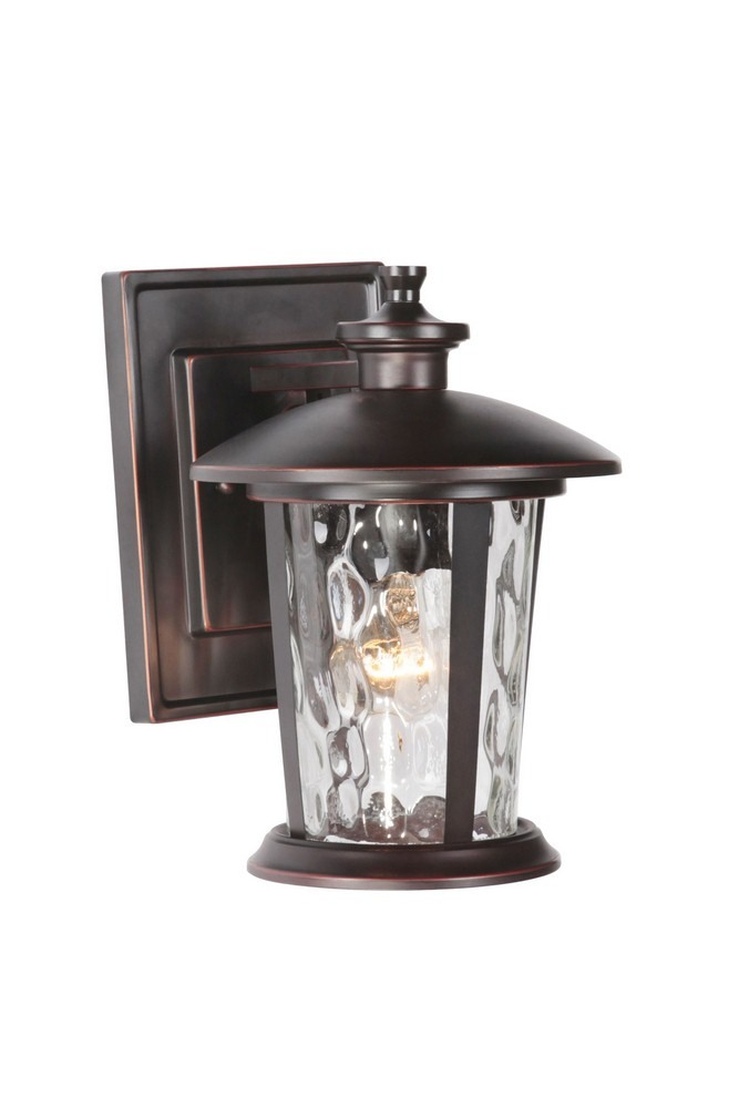 Craftmade Lighting-Z7104-OBG-Summerhays - One Light Outdoor Small Wall Mount  Oiled Bronze Gilded Finish with Clear Hammered Glass