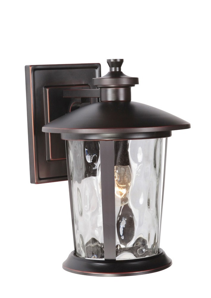 Craftmade Lighting-Z7114-OBG-Summerhays - One Light Outdoor Medium Wall Mount  Oiled Bronze Gilded Finish with Clear Hammered Glass
