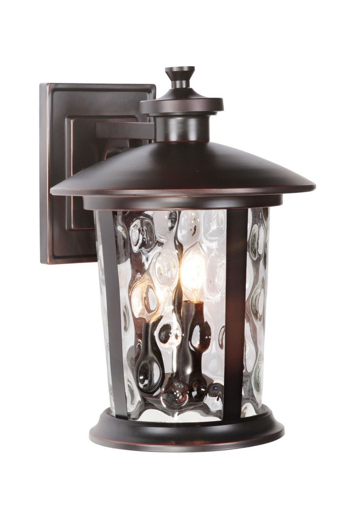 Craftmade Lighting-Z7124-OBG-Summerhays - Three Light Outdoor Large Wall Mount  Oiled Bronze Gilded Finish with Clear Hammered Glass