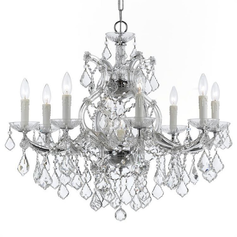 Crystorama Lighting-4408-CH-CL-MWP-Maria Theresa - Nine Light Chandelier Clear Majestic Wood Polished Chrome Finish