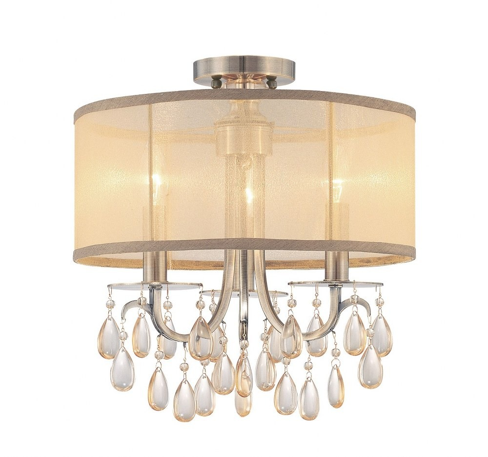 Crystorama Lighting-5623-AB_CEILING-Hampton - Three Light Semi-Flush Mount Antique Brass Silk Shade with Etruscan Smooth Oysters Crystal