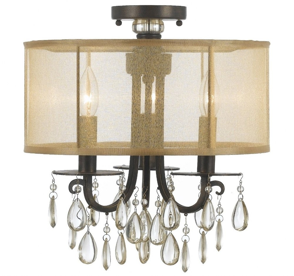 Crystorama Lighting-5623-EB_CEILING-Hampton - Three Light Semi-Flush Mount English Bronze Silk Shade with Etruscan Smooth Oysters Crystal