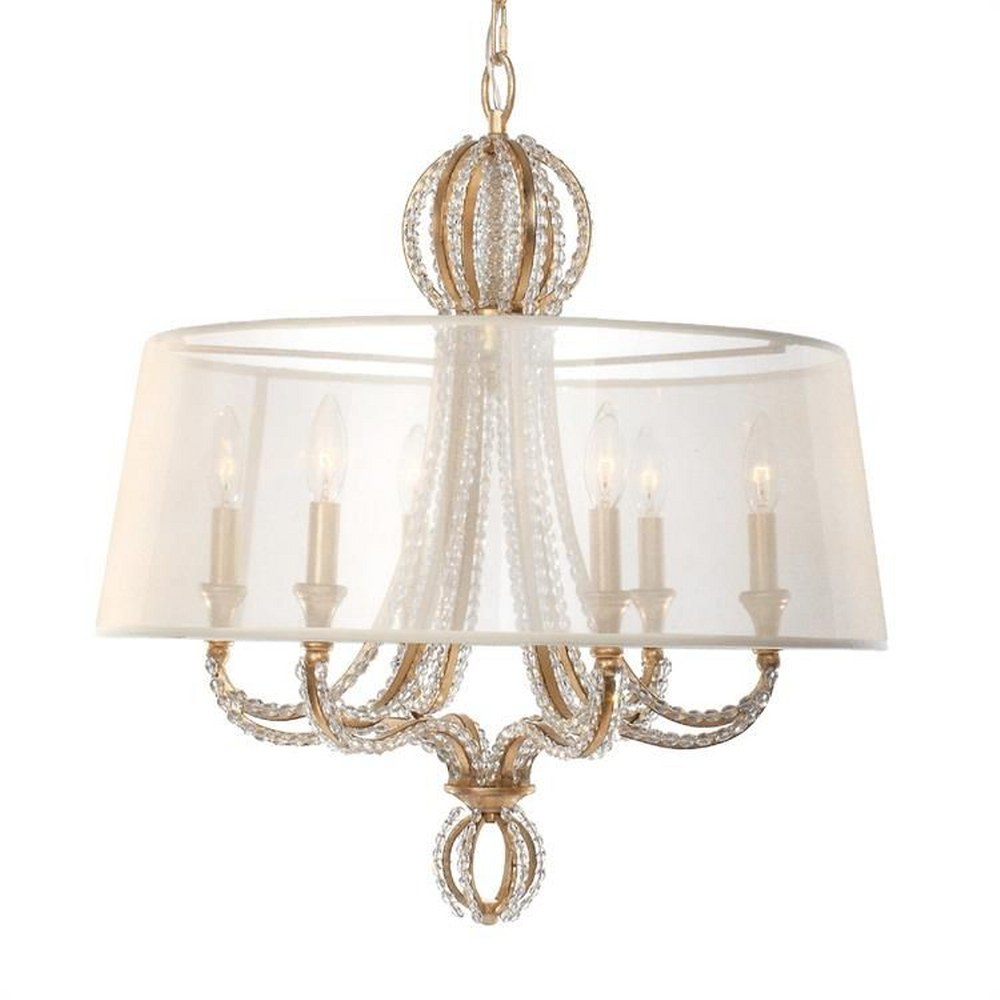 Crystorama Lighting-6767-DT-Garland - Six Light Chandelier  Silk Shade with Hand Cut Beads Crystal