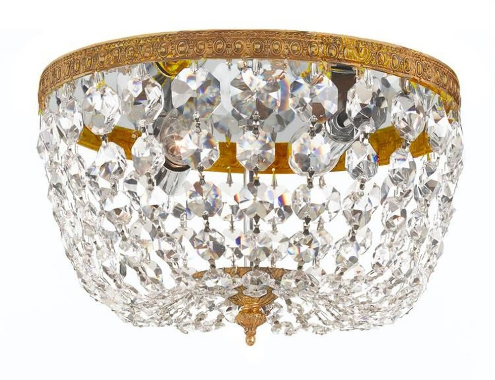 Crystorama Lighting-708-OB-CL-I-Richmond Traditional 2 Light Ceiling Mount Clear Italian Olde Brass Finish
