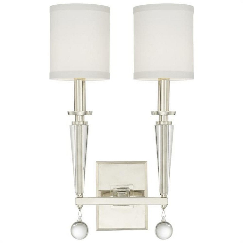 Crystorama Lighting-8102-PN-Paxton - Two Light Wall Sconce  White Linen Shade