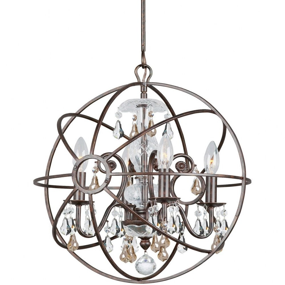 Crystorama Lighting-9025-EB-GS-MWP-Solaris - Four Light Mini Chandelier Golden Teak and Clear Majestic Wood Polished English Bronze Finish