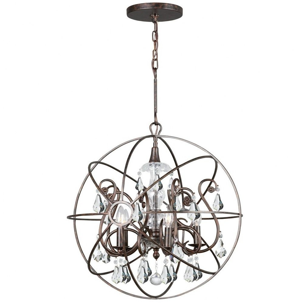 Crystorama Lighting-9026-EB-CL-MWP-Solaris - Five Light Chandelier Clear Majestic Wood Polished English Bronze Finish