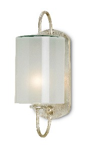 Currey and Company-5129-Glacier - 1 Light Wall Sconce  Silver Leaf Finish with Frosted Glass