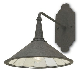 Currey and Company-5151-Manuscript - 1 Light Wall Sconce  Mole Black Finish with Antique Mirror Glass