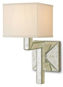 Currey and Company-5159-Stellar - 1 Light Wall Sconce  Viejo Silver Finish with Antique Mirror Glass with Off White Shantung Shade