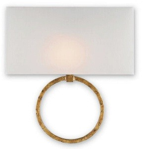 Currey and Company-5902-Porthole - One Light Wall Sconce  Gold Leaf Finish with Off-White Shantung Shade