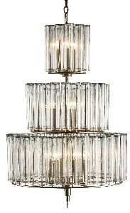 Currey and Company-9309-Bevilacqua - 12 Light Medium Chandelier  Silver Leaf Finish with Reflective Glass