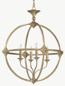 Currey and Company-9346-Bellario - 4 Light Orb Chandelier  Antique Brass Finish