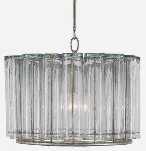 Currey and Company-9375-Bevilacqua - 1 Light Pendant  Silver Leaf Finish