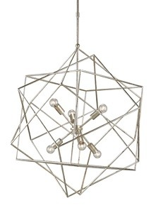 Currey and Company-9455-Aerial - Six Light Chandelier  Silver Granello Finish