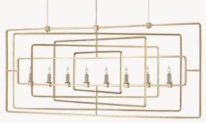 Currey and Company-9542-Metro - Eight Light Rectangular Chandelier  Gold Leaf Finish