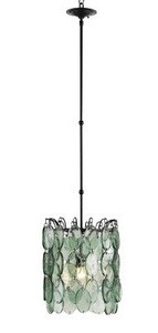 Currey and Company-9920-Airlie - 1 Light Pendant  Satin Black Finish with Recycled Glass