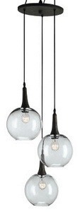 Currey and Company-9969-Beckett Trio - 3 Light Pendant  Emery Rust Finish with Gray Glass