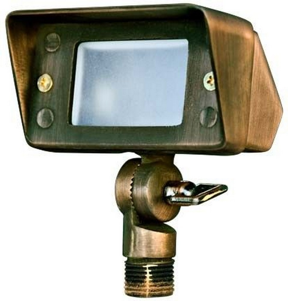 Dabmar-LV116-WBS-Cast Brass Mini Flood Light 20W Jc 12V  Weathered Brass Finish with Clear/Tempered Glass