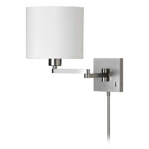 Dainolite-DMWL7713-SC-One Light Double Arm Wall Lamp  Satin Chrome Finish White Tapered Shade