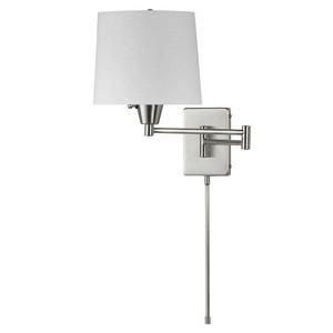 Dainolite-DWL80DD-SC-One Light Swing Arm Wall Sconce  Satin Chrome Finish White Linen Shade