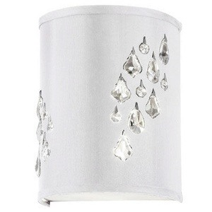 Dainolite-RHI-8R-2W-693-Rhiannon - Two Light Right Wall Sconce  Polished Chrome Finish with White/Silver Shade with Clear Crystal