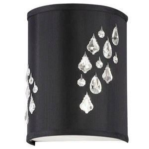 Dainolite-RHI-8R-2W-694-Rhiannon - Two Light Right Wall Sconce  Polished Chrome Finish with Black/Silver Shade with Clear Crystal
