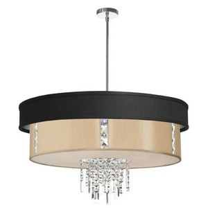 Dainolite-RITA-31-4-PC-694-839-Rita - Four Light Pendant  Polished Chrome Finish with White Glass with Black Micro Baroness Shade with Clear Crystal