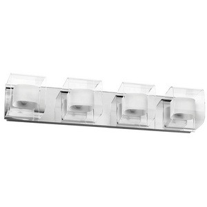 Dainolite-V6015-4W-PC-Four Light Bath Vanity  Polished Chrome Finish with Clear/Frosted Glass