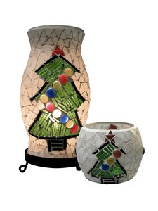 Dale Tiffany Lighting-TAL100855-Xmas Combo - One Light Accent Lamp and Votive  Black Finish with Mosaic Art Glass