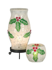 Dale Tiffany Lighting-TAL100856-Holy Noel - One Light Accent Lamp  Black Finish with Mosaic Art Glass