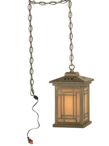 Dale Tiffany Lighting-TH10890-Mission - One Light Pendant  Antique Brass Finish with Hand Rolled Art Glass