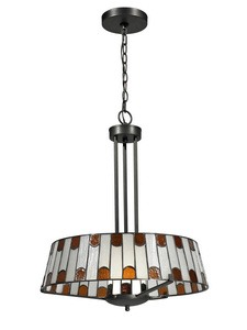 Dale Tiffany Lighting-TH12421-Wedgewood - One Light Pendant  Dark Bronze Finish with Hand Rolled Art Glass