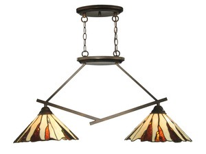 Dale Tiffany Lighting-TH12435-Ripley - Two Light Island  Copper Bronze Finish with Hand Rolled Art Glass