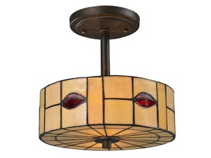 Dale Tiffany Lighting-TH12448-Fantom Leaf - One Light Semi-Flush Mount  Rustic Bronze Finish with Hand Rolled Art Glass