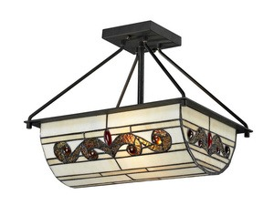 Dale Tiffany Lighting-TH12461-Cupertino - Two Light Semi-Flush Mount  Matte Coffee Black Finish with Hand Rolled Art Glass