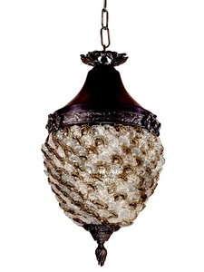 Dale Tiffany Lighting-TH13053-Glass Flower - One Light Hanging Lantern  Antique Bronze Finish with Hand Blown Art Glass
