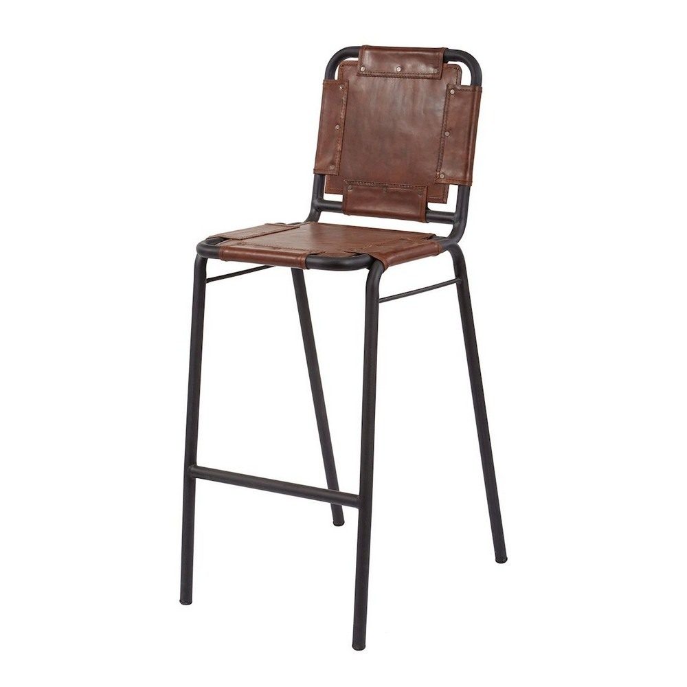 Dimond Home-161-002-Industrial - 41.5 Inch Bar Stool  Tobacco/Black Iron Finish