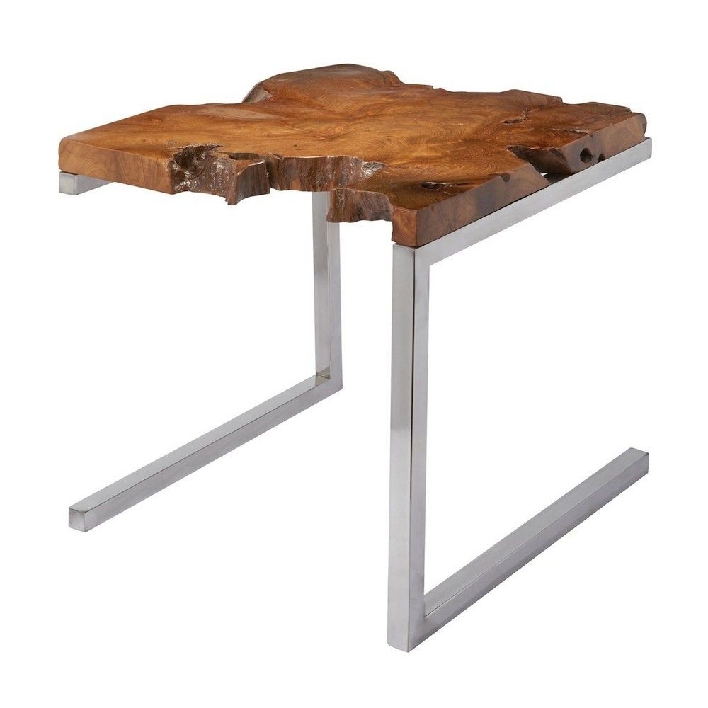 Dimond Home-162-003-Teak - 21.5 Inch Table With Angular Base  Teak/Stainless Steel Finish