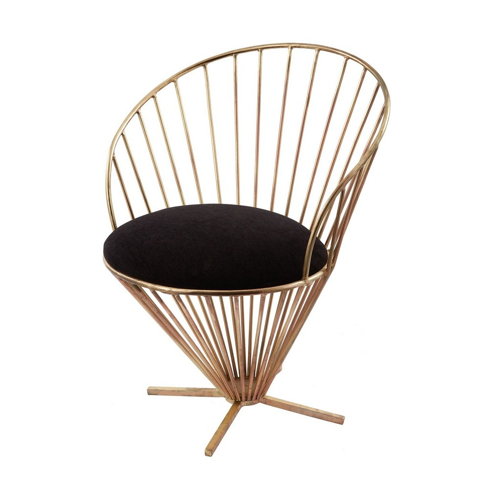 Dimond Home-985-001-32 Inch Iron Taper Wire Chair  Gold/Black Finish