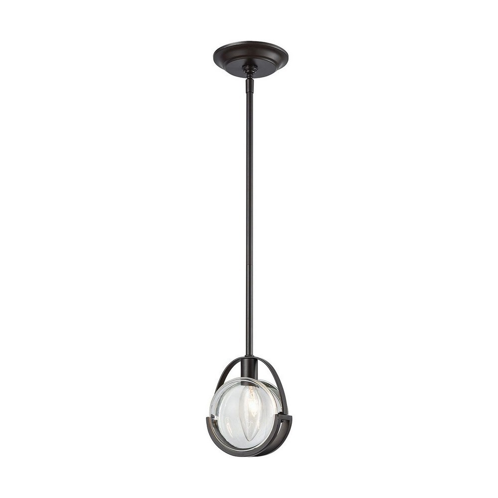 Dimond Lighting-1141-063-Focal Point - One Light Pendant  Oil Rubbed Bronze Finish with Clear Crystal Glass