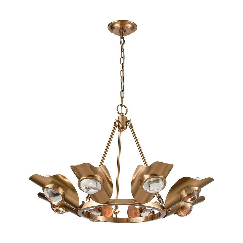 Dimond Lighting-1141-068-Spectacle - Eight Light Chandelier  Aged Brass Finish with Clear Crystal Glass