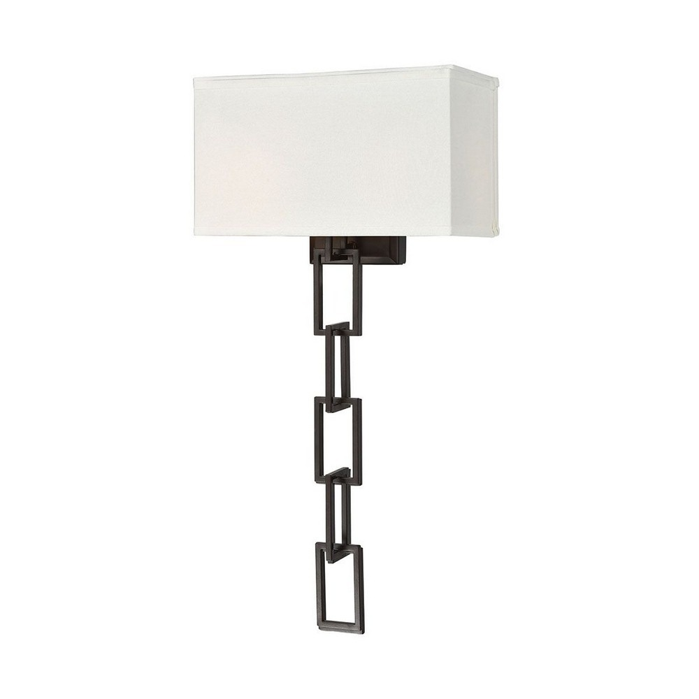 Dimond Lighting-1141-092-Anchorage - Two Light Wall Sconce  Oiled Bronze Finish with White Fabric Shade