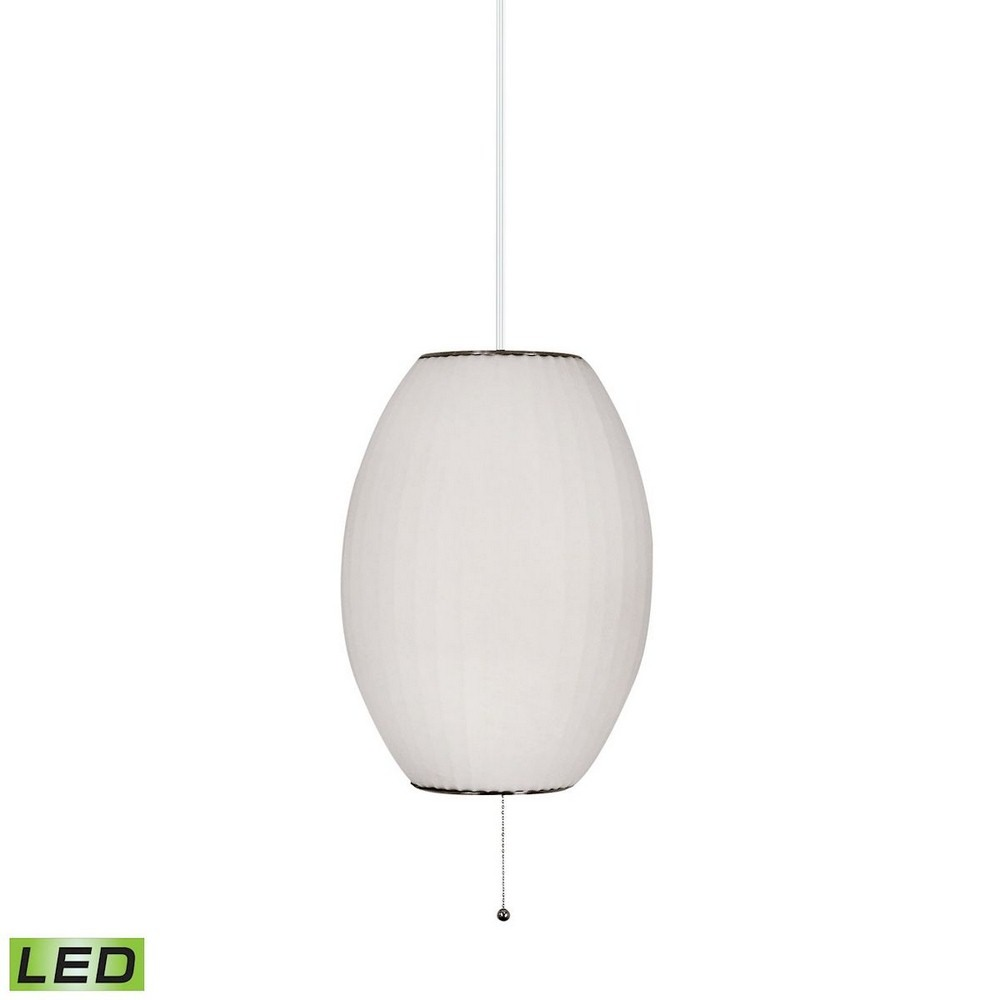 Dimond Lighting-401-LED-Cigar - 14 Inch 9.5W 1 LED Table Lamp  White Finish with White Fabric Shade