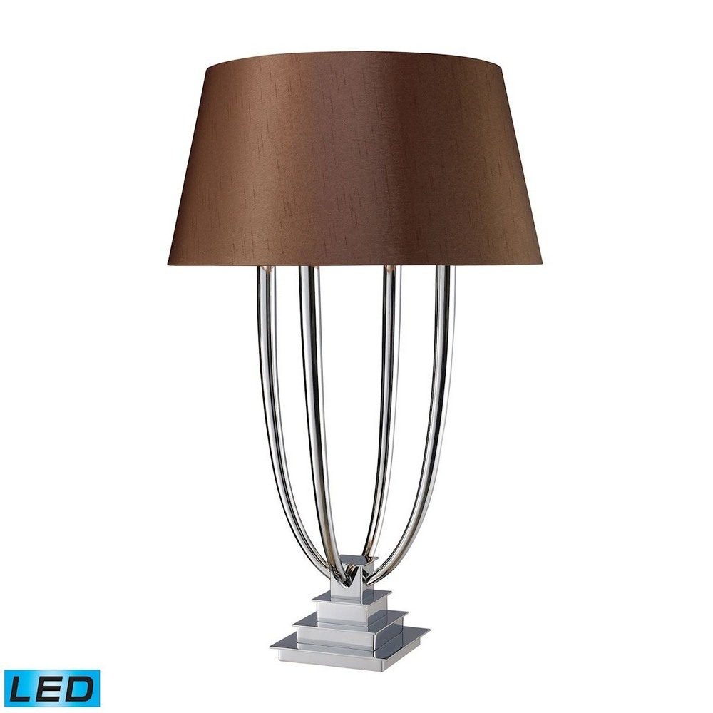 Dimond Lighting-D1804-LED-Harris - LED Table Lamp  Chrome Finish with Chocolate Faux Silk/Silver Foil Linen Shade