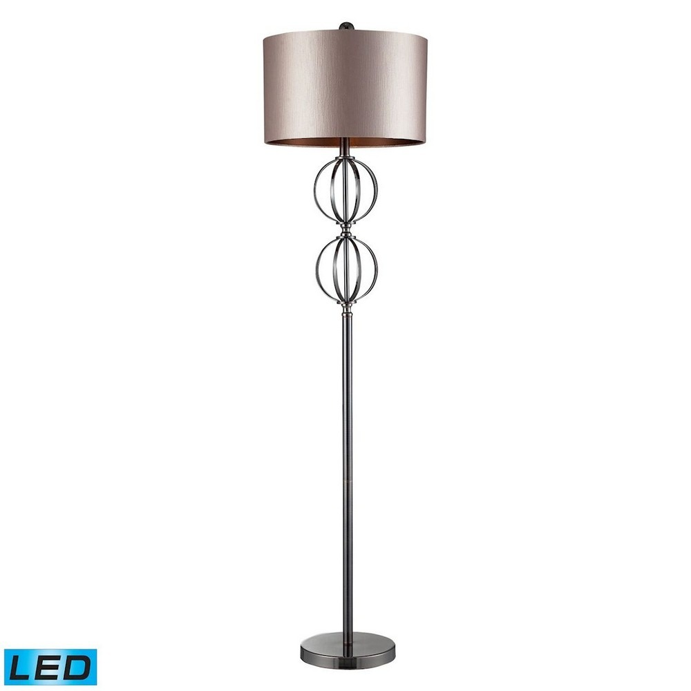 Dimond Lighting-D2223-LED-Danforth - LED Floor Lamp  Coffee Plated Finish with Champagne Faux Silk/Dark Chocolate Linen Shade
