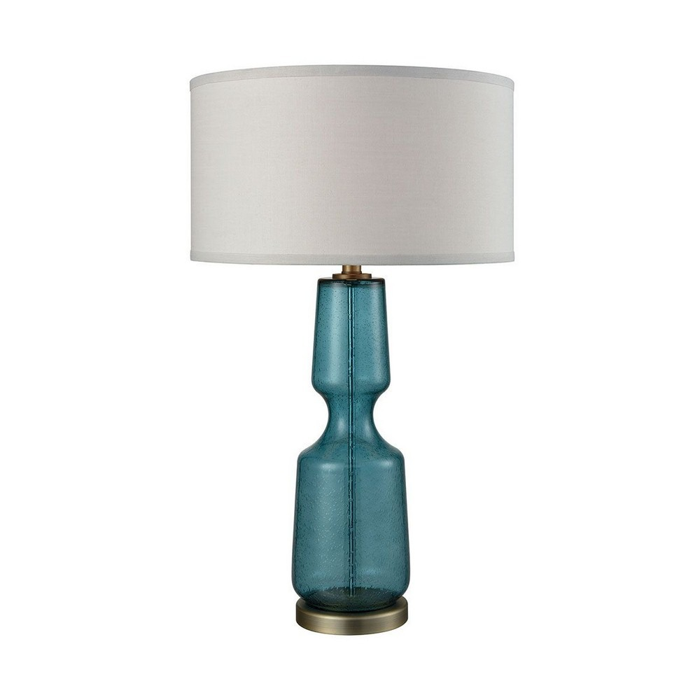 Dimond Lighting-D3477-Bluestiere - One Light Table Lamp  Teal Finish with Light Ecru Cotton Fabric Shade