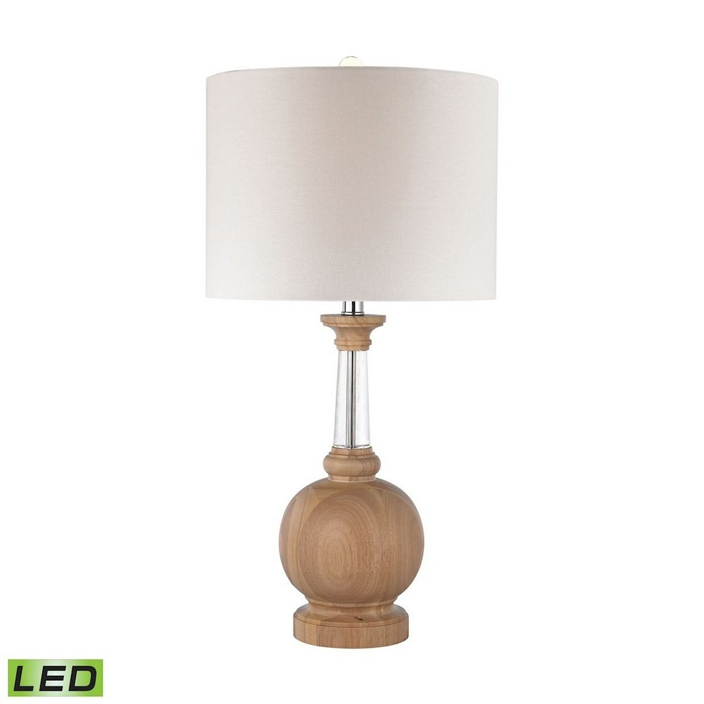 Dimond Lighting-D2834-LED-27 Inch 9.5W 1 LED Table Lamp  Light Washed Wood Finish with White Linen Shade with Clear Crystal