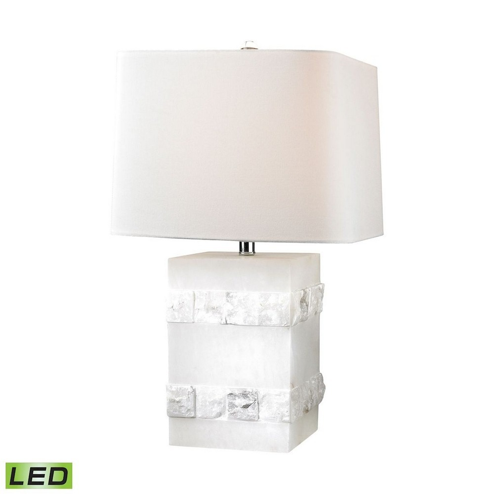 Dimond Lighting-D2900-LED-26 Inch 9.5W 1 LED Table Lamp  Alabaster Finish with White Linen Shade