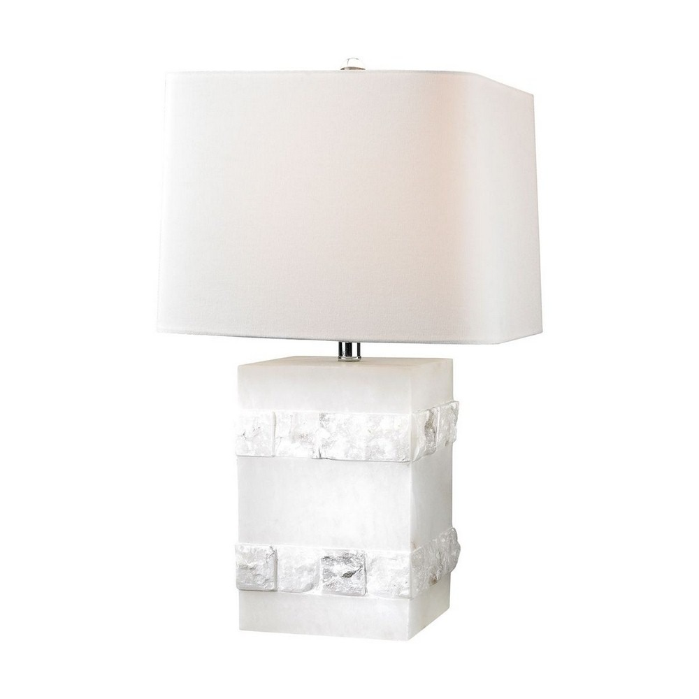 Dimond Lighting-D2900-One Light Mystery Cube Table Lamp  Alabaster Finish with White Linen Shade